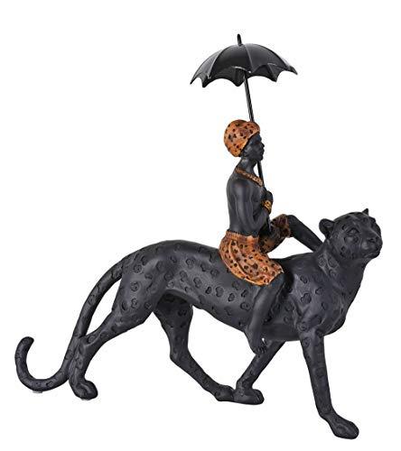 Schwarzer Diener & Leopard Skulptur Kolonialstil Figur Afrikaner 34cm cw239 Palazzo Exklusiv