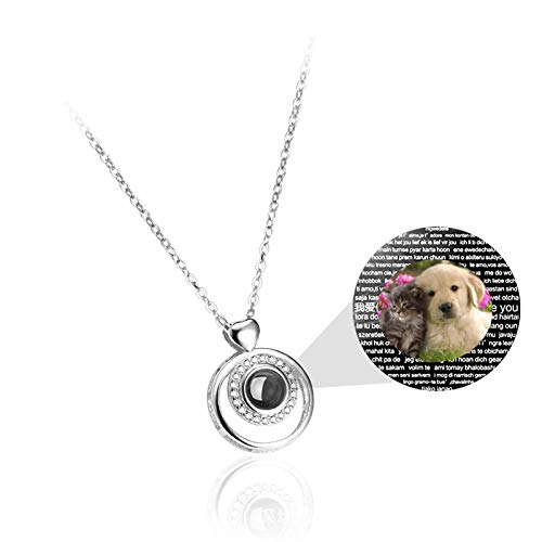 bishihongkuanbaihuod Custom Photo Necklace Custom Projection Woman Necklace Personalization I Love You Necklace 100 Languages Necklace Christmas Birthday Anniversary for Women(Silver Full Color 16)