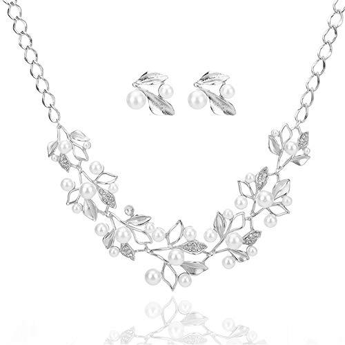 UBL PULABOWomen - Juego de collar y pendientes de plata para novia, collar de cadena para niñas, pendientes de fiesta, boda, regalo de amor, cómodo y respetuoso con el medio ambiente