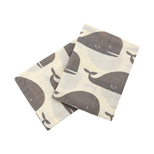 Milkbarn Organic Cotton Burp Cloths'Grey Whale' - Set of Two