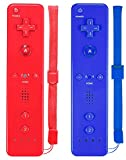 ZeroStory Remote Controller with Silicone Case and Wrist Strap Compatible for Wii Wii U Console (2 Pack, Red and Dark Blue)