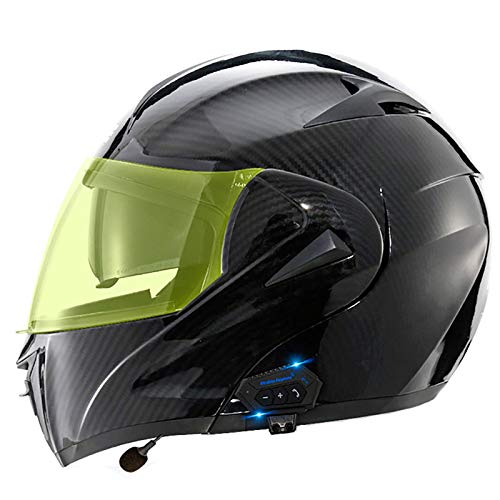 XYXZ Cascos Integrales para Motocicleta Casco Abatible para Motocicleta Integrado con Bluetooth, Casco Integral Modular para Motocicleta Aprobado por Puntos, Casco para Motocicleta con Viser