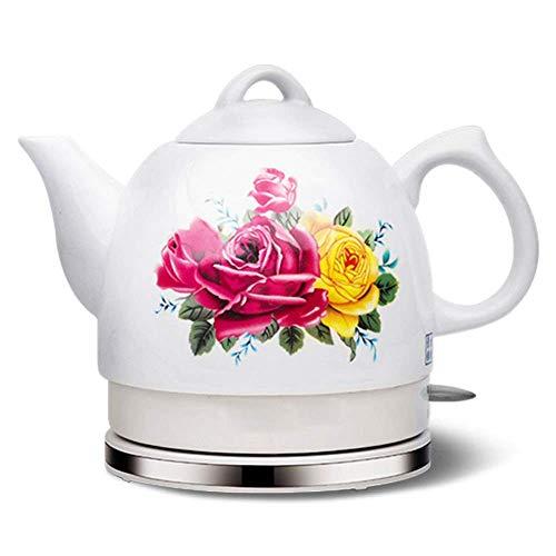Gymqian Orient Électrique En Céramique Bouilloire Sans Fil Blanc Teapot Rétro 1.2L Jug, Eau Oncles Plateau Flocons D'Avoine, 1000W cadeau de vacances/B