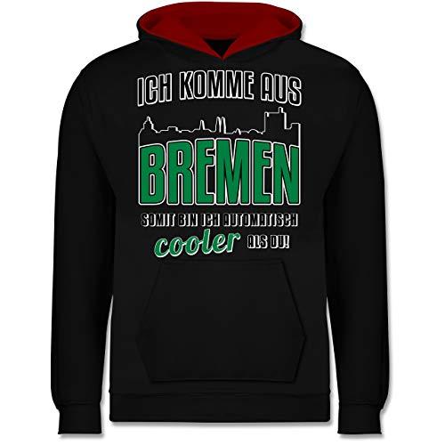 Städte & Länder Kind - Ich komme aus Bremen - 140 (9/11 Jahre) - Schwarz/Rot - Skyline - JH003K - Kinder Kontrast Hoodie