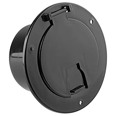 Halotronics RV 5-inch Round Electric Cable Hatch for 30 and 50 Amp Cords (Black)