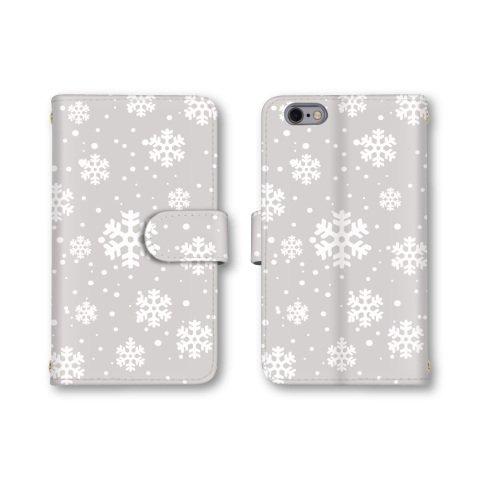 【ノーブランド品】 AQUOS PHONE ZETA SH-01F スマホケース 手帳型 ノルディック 結晶 グレー 灰色 かわいい おしゃれ 携帯カバー SH-01F ケース アクオスフォン ゼータ