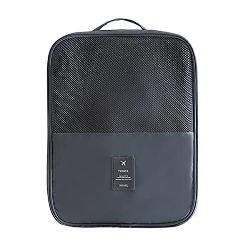 juntao Reise-Schuhtasche für Damen, tragbar, staubdicht, Schuh-Organizer, Aufbewahrungstasche, Gepäck, Zubehör, Artikel, doppellagig, Business-Schuhtaschen (Farbe: Grau)