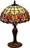 MUZIDP Rosa roja Tiffany lámpara de mesa 12 pulgadas pastoral mediterráneo dormitorio salón escritorio luz con resina base