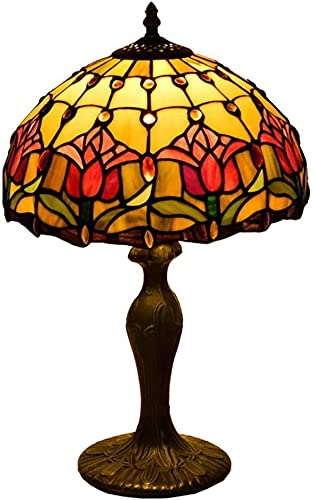 MUZIDP Rojo Rose Tiffany lámpara de mesa 12 pulgadas pastoral mediterráneo dormitorio salón escritorio luz