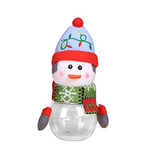GSusan Tarro de Dulces navideños, latas de azúcar navideñas Caja de Regalo Transparente de plástico Old Man Snowman Elk Decoración navideña Tarro de Dulces para Cualquier Fiesta 7 x 17 cm (E)