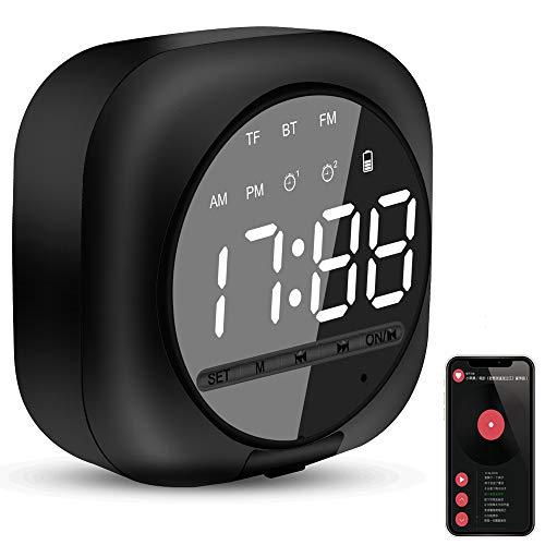 Reloj Despertador Digital con Altavoz Bluetooth Inteligente, Altavoz Inalámbrico Portátil, Reloj Despertador Dual, Radio FM, Pantalla LED, Micrófono Incorporado, Brillo Ajustable (Negro)
