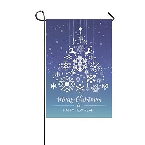 Arbre de Noël décoratif pour la maison en plein air double face blanc flocon de neige sur le drapeau de jardin bleu, drapeau de jardin de maison, décorations de jardin, cadeau de printemps été 12