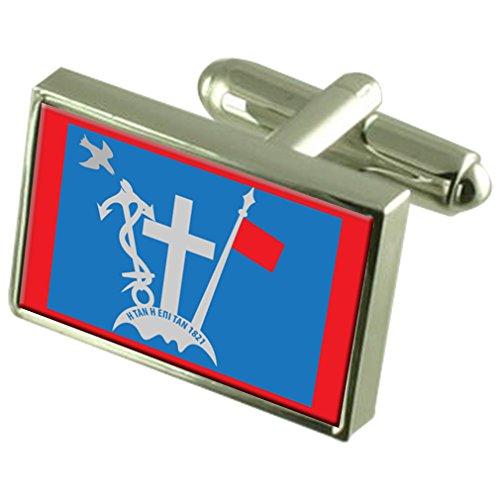 Select Gifts Hydra Stadt Griechenland Flagge Sterling Silber Manschettenknöpfe graviert Box