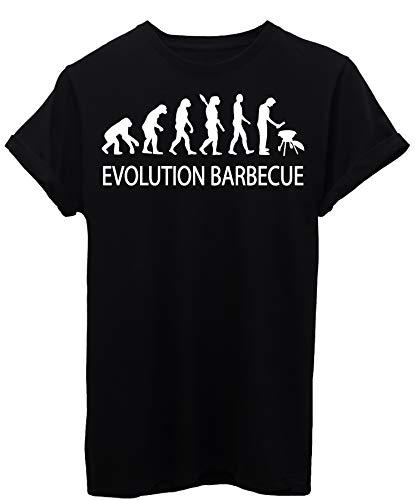iMage T-Shirt Evoluzione Barbecue Grill Arrosto - Evolution - Uomo-XL-Nera
