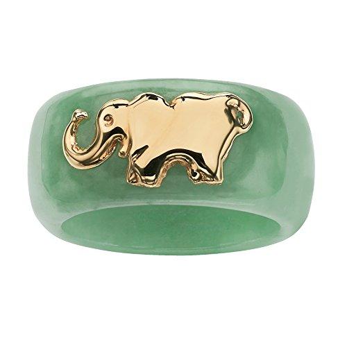 10K Yellow Gold Round Genuine Green Jade Elephant Ring