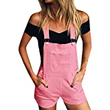 Xmiral Damen Shorts Jumpsuit Baumwolle Lose Denim Latzhose Overalls Jeans Denim (XL,Rosa)