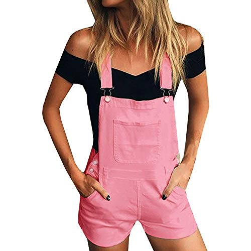 iHENGH Damen Frauen Lose Denim Trägerhose Overalls Jeans Demin Shorts Jumpsuit(Rosa, S)