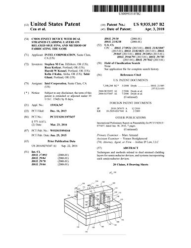CMOS FinFET device with dual strained cladding layers on relaxed SiGe fins, and method of fabricating the same: United States Patent 9935107 (English Edition)