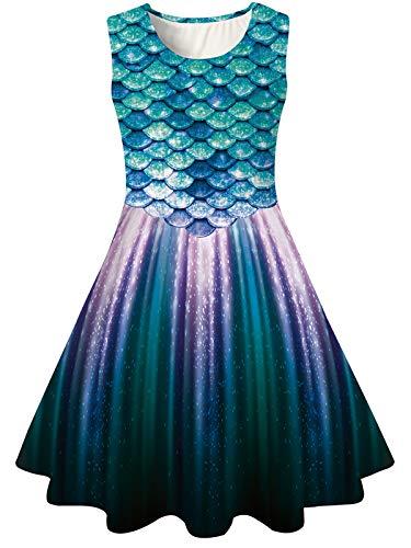 BFUSTYLE Fancy Dresses for Girls Summer Tank Playwear Skater Dress Twirl Frocks Sleeveless Casual Sundress for Kid Girl 4-13 Years