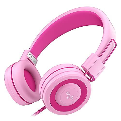 Elecder i37 Kids Headphones Children Girls Boys Teens Foldable Adjustable On Ear Headphones 3.5mm Jack Compatible iPad Cellphones Computer MP3/4 Kindle Airplane School Tablet Rose/Pink