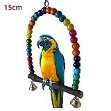 Juguete para Mascotas Loros De Madera Natural Columpios De Juguete Pájaros Cuentas Coloridas Suministros De Pájaros Campanas Juguetes Perca Columpios Columpios Jaula para Mascotas Woodstick1