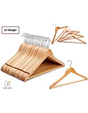STAR WORK Wooden Garment Hangers with 360 Degree Swivel Chrome Hook (Beige)