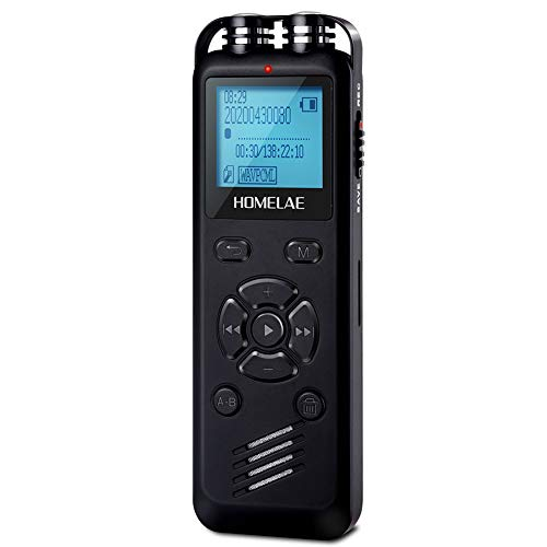 Digital Voice Recorder for Lectures, 32GB Mini Voice Sound Audio Tape Recorders Dictaphone Recording Device with Playback for Meeting, Class, Interview, Line-in and Rechargeable