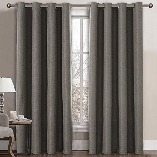 Linen Curtains Room Darkening Light Blocking Thermal Insulated Heavy Weight Textured Rich Linen Burlap Curtains for Bedroom / Living Room Curtain, 52 by 84 Inch - Taupe Gray (1 Panel)