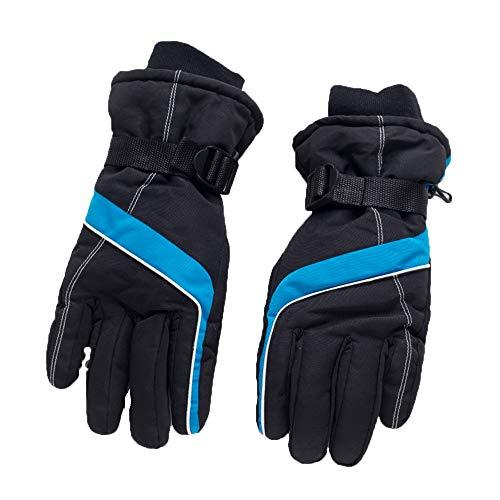 Axdwfd Gants de Ski Hommes Automne Hiver Hiver Plus de Velours Chaud Coupe-Vent extérieur Épaississement Moto Vélo (Color : Blue)