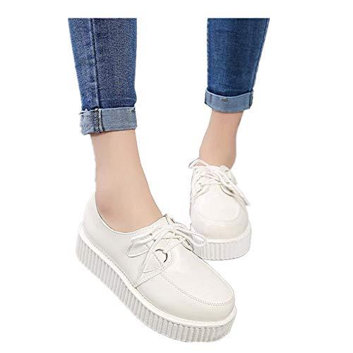 Black Sugar Damskie dziewczęce buty sznurowane botki płaskie kształt retro punk festiwal Rock Creepers Emo Goth Gothic, biały, 37 eu