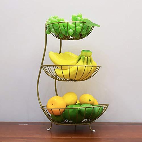 Kuan 3-Tier Fruit Basket, Mesh Fruit de Trois Couches et Corbeille de Fruits comptoir de Cuisine Stand de Fruits pour Le Stockage des Fruits/légumes/œufs etc,d'or