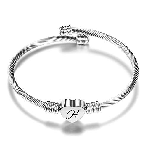 VQYSKO Damen Mädchen Herz Armband Armkette-Rostfreier Stahl Initiale Armband Mit Gravur Damen, Golden/Stahlfarbe/Roségold/Brief Frauen Armreif(Silber Farbe H)
