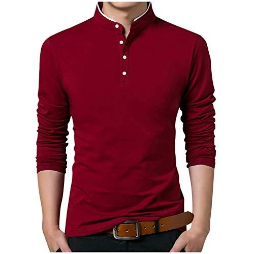 Moda Camiseta Manga Larga Hombre,Camiseta De Manga Larga para Hombre, Cuello Alto, Blusa Pura Polo