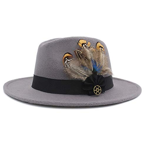Preisvergleich Produktbild Soehong Breite Filz Brim Hat-Mann-Winter-Hut-Feder-Band (Color : Light Grey)