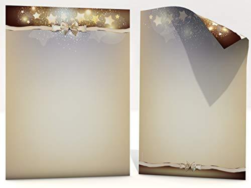 Weihnachtsbriefpapier | Sternen Nebel | 100 Blatt weihnachtliches Motivpapier DIN A4 | Briefpapier