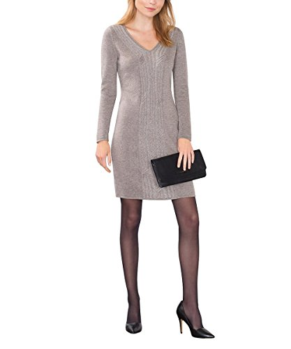 ESPRIT Collection Damen 106EO1E003-Regular Fit Kleid, Braun (Taupe 5 244), 42 (Herstellergröße: XL)