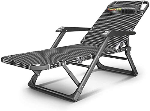 Reclining Chairs, Recliners Lounge Chaise Adjustable Reclining,Folding Zero Gravity For Outdoor Patio Yard Deck W/Roller Massage Armrest,Support 440lbs (Color:Straight black strip) ,Sun Lounger