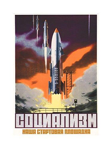 Vintage AD Propaganda Soviet Space Rocket Launch USSR Framed Print F12X5985