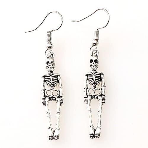 MRDUEWS Pendientes de cráneo de estilo retro, 925 Sterling Siver Plated Vintage Human Skeleton Skeleton Huesos y Charm Cráneo Pendientes Cuelgan, Pendiente del aro de la cara del cráneo para las mujer