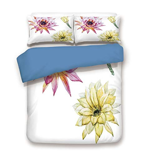 Duvet Cover Set Twin Size, Decorative 3 Piece Bedding Set with 2 Pillow Shams,Vector Image with Watercolored Cactus Flowers Colored Desert Nature Print