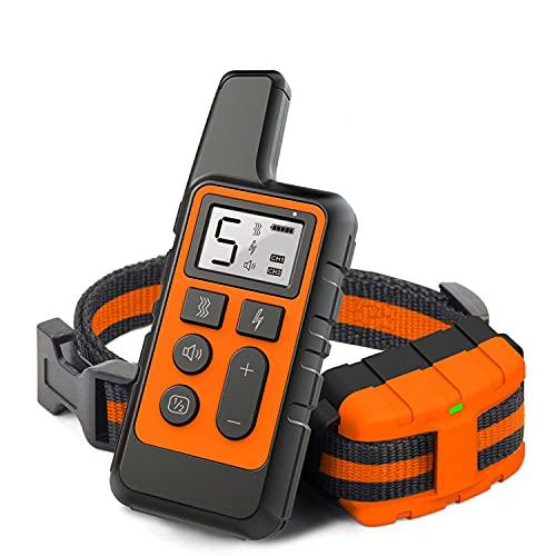 LPWCAWL Collar Recargable Adiestrar Perros,Dispositivo Antiladridos, Impermeable Disuasivos Anti Ladridos con Alcance Remoto De 800 Metros Orange.