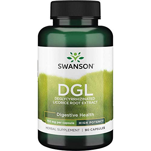Swanson High Potency Dgl (Licorice) Digestive Health Stomach Soother GI Tract Support 750 Milligrams 90 Capsules