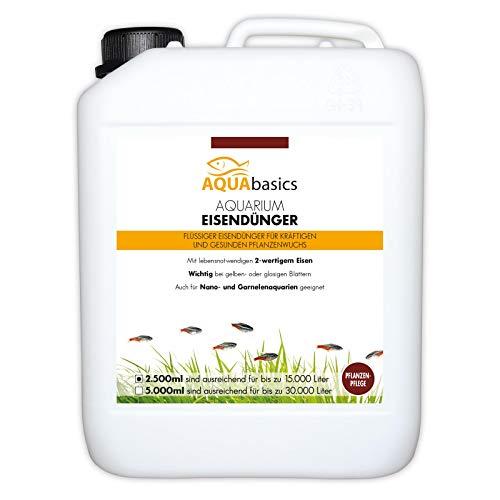 AQUAbasics Aquarium Eisendünger ist der ideale Pflanzendünger - Zweiwertiges Eisen FE2 für kräftige und gesunde Aquarium-Pflanzen, Größe:2.5 Liter