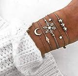 Bohend Moda En capas Estrella Esposas Plata Luna Cadena de mano Copo de nieve Multicapa Ajustable Pulsera Joyería para Las mujeres y las niñas (Paquete de 5)