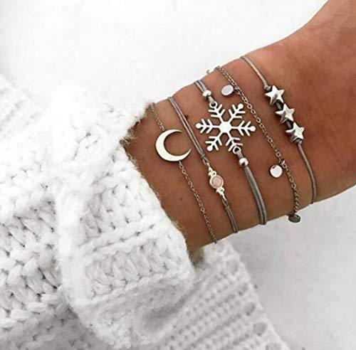 Bohend Moda En capas Estrella Esposas Plata Luna Cadena de mano Copo de nieve Multicapa Ajustable...
