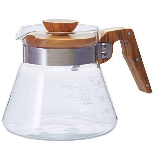 Hario Kaffekanne, 600 ml, Griff und Deckel aus Olivenholz, durchsichtig, 4 Cup