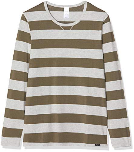 Skiny Herren Sloungewear Langarmshirt Schlafanzugoberteil, Mehrfarbig (Lizard Green Stripe 2127), Large (Herstellergröße: L)