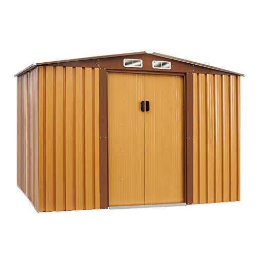 Solaura 8'x6' Outdoor Vented Storage Shed Garden Backyard Tool Steel Cabin (Yellow)