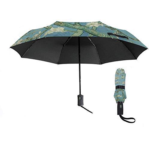 Van Gogh Travel Umbrella, Auto Open/Close Windproof Umbrella, Almond Blossom Floral Compact 3 Folding Reverse Umbrella, Portable Umbrellas With Ergonomic Handle