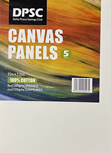 Canvas Panels Multi Pack 9x12, Professional Cotton Canvas Panel Boards for Acrylic, Oil, Watercolor, Beginner and Professional Art Media (9x12 Five Pack)